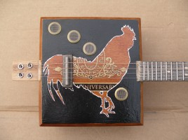 Rooster cigar box banjo - front